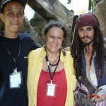 Johnny Depp, Marie and her son Isaiah on the set of the movie Pirates of the Caribbean