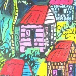 Four shacks and a coconut tree - mixed media on canvas - 15'' x 10'' - 2013 -