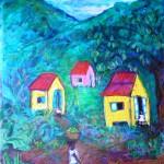 Three shacks - mixed media on canvas - 30' 'x 26'' - 2010 - $1075
