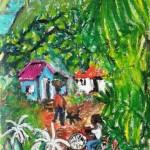 Village life - mixed media -17.5 x 12 - 2014 - $380