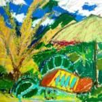 Backgammon under umbrella - oil pastels on cardboard - 10.5''  x 14.5 '' - 2011 - $205