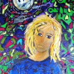 Isaiah and the moon - mixed media on canvas panel - 20'' x 16'' - 2012 - $480