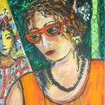"Self portrait with Jacquelle - mixed media - 24"" x 17""1/2 - $925 - 2013"