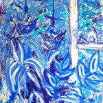 Sugarbirds in blue - oil pastels -  2010