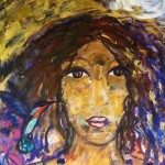 Woman with hummingbird - mixed media - 2010