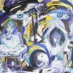 """Zen meditation - mixed media on canvas - 31"""" x 29.5"""" - 2012 - $1485"""