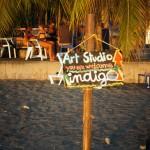 Itinerant art gallery on the beach