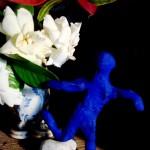 B's blue man