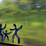 On the window of the train going to Deauville.