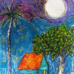 "Turquoise shack 26.5"" x 18.5""  Mixed media  going to Finland exhibition at Cafe Wilda"
