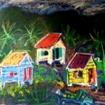 "Three  shacks  9.5"" x13""  Mixed media going to Finland exhibition at Cafe Wilda"